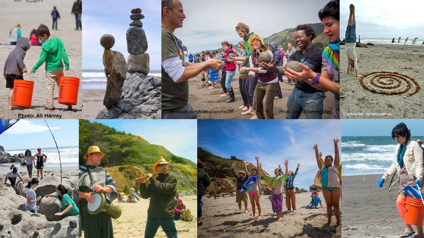 Montage of photos from Earth Day at Stinson Beach, including children and adults collecting trash, balanced rock sculptures, a person handstanding next to a spiral sculpture made from seaweed, a group making sand sculpture, two men making music (drumming and flute), and a group reaching for the sky together.