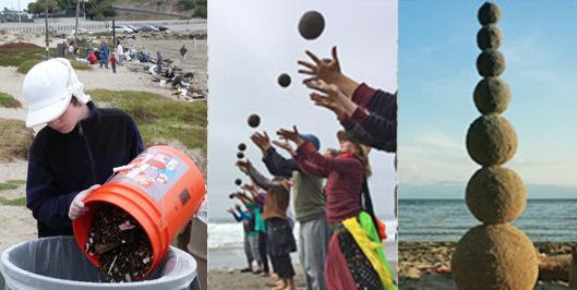 Montage of three photos: right, a child dumping collected trash in to a waste can, middle, a line of 6 people throwing sand globes in the air, right, a stack of 7 sand globes with the ocean in the background